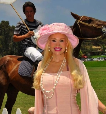 Actress Brenda Dickson with Polo Player - Santiago in background with his horse, India